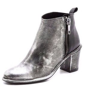 Miista Alice bootie. Distressed Silver and black.